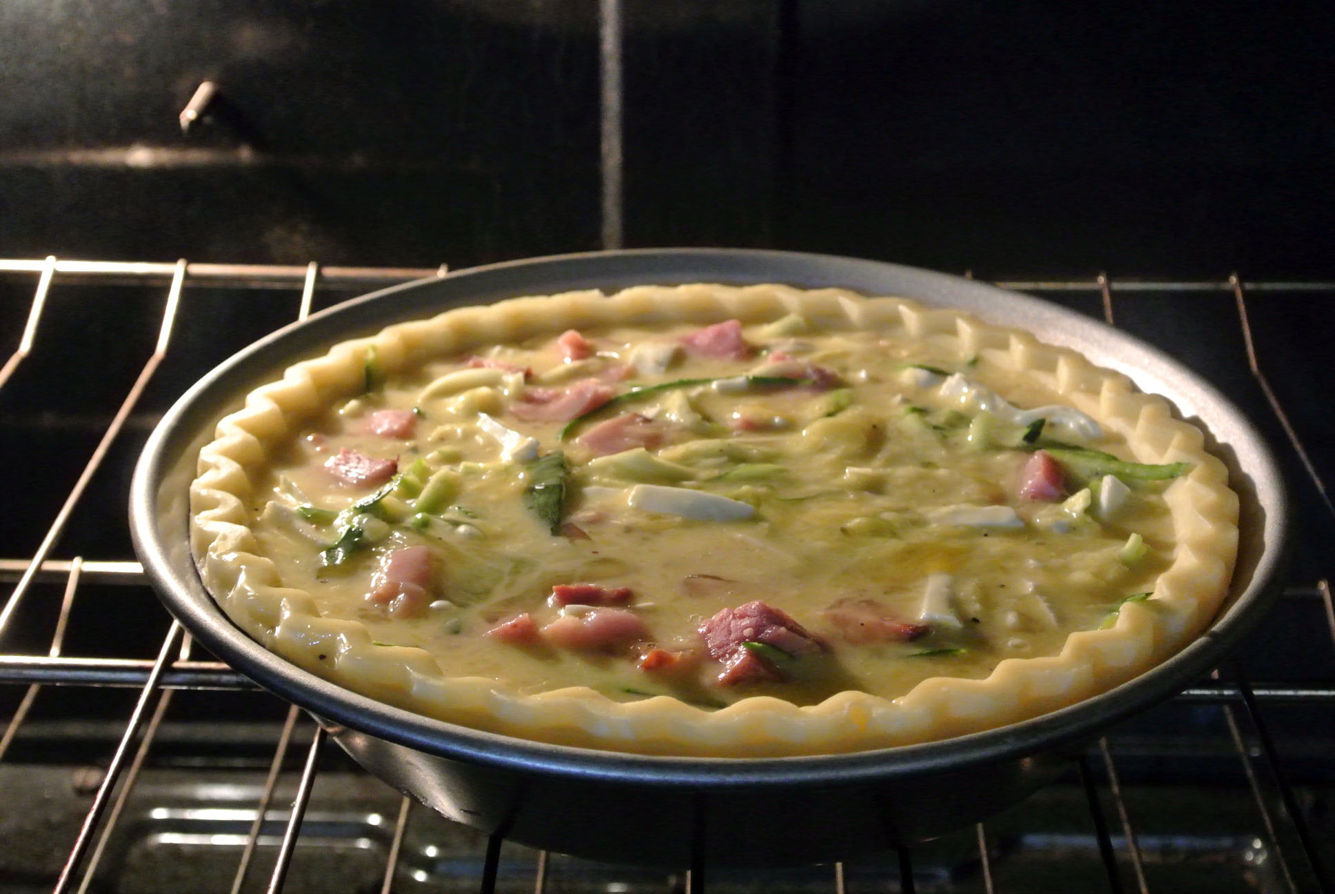 Ham and Zuchinni Quiche Baking