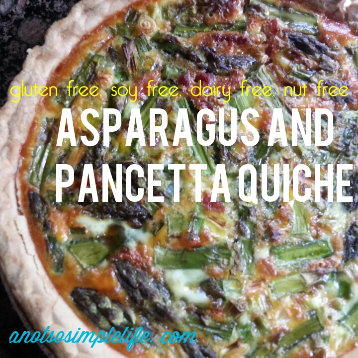 Asparagus and Pancetta Quiche: Gluten free, soy free, dairy free, nut free recipe