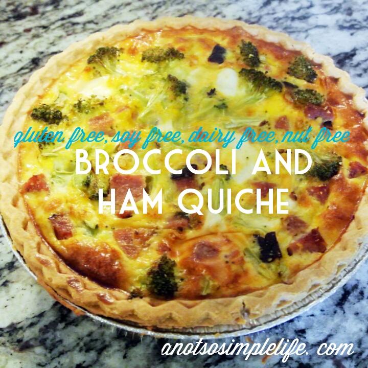 Broccoli and Ham Quiche; Gluten Free, Dairy Free, Soy Free, Nut Free Recipe
