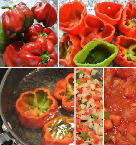 Stuffed Red (or Green) Peppers; Gluten Free, Dairy Free, Soy Free, Nut Free Recipe