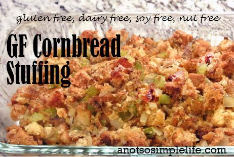 Allergen Free Cornbread Stuffing; gluten free, dairy free, soy free, nut free, egg free recipe