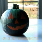 Halloween Activity, Day 4: Painters Tape Pumpkin Painting, Toddler Activity