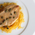 Allergy Friendly Lemon Caper Chicken over Spaghetti Squash