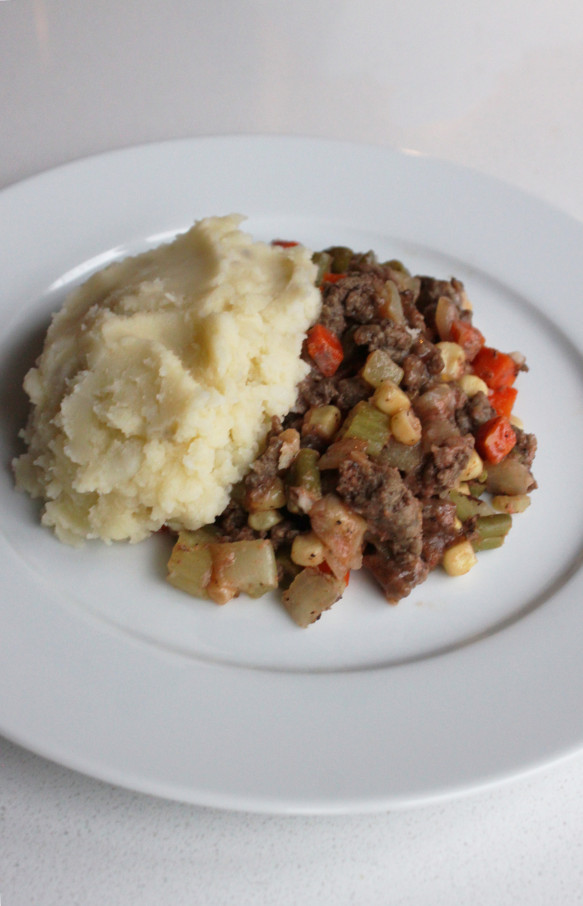 Allergy friendly shepherds lie with ground beef (cottage pie)