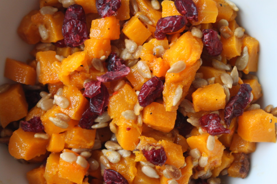 Roast Butternut Squash with Sunflower Seeds and Honey Vinaigrette