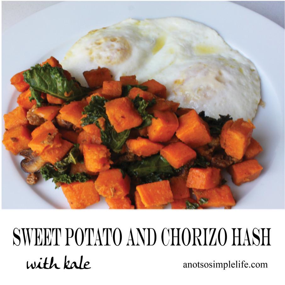 Sweet Potato and Chorizo Hash with Kale and Eggs