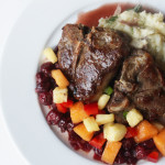 Lamb Chops with Tart Cherry Chutney and Cantaloupe Salsa
