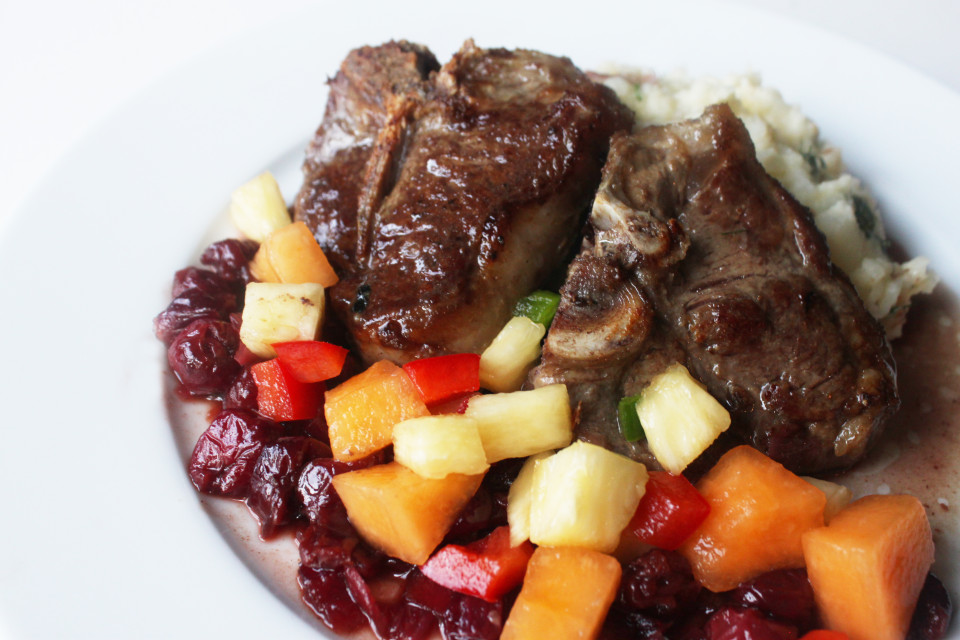 Lamb Chops with Cherry Chutney and Cantaloupe Salsa (9)