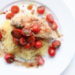 Bruschetta Chicken over Spaghetti Squash; Gluten free, dairy free, soy free, nut free recipe