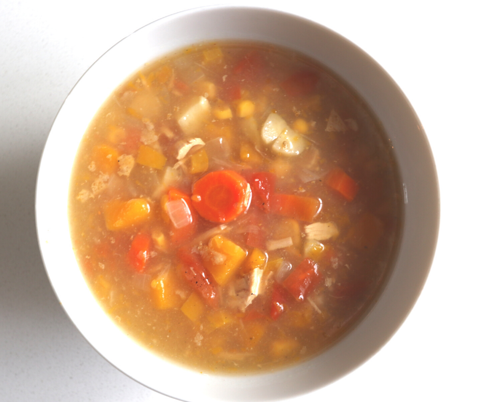 Bowl of Gluten Free, Dairy Free, Soy Free, Nut Free, Allergen friendly harvest Veggie soup made with root vegetables